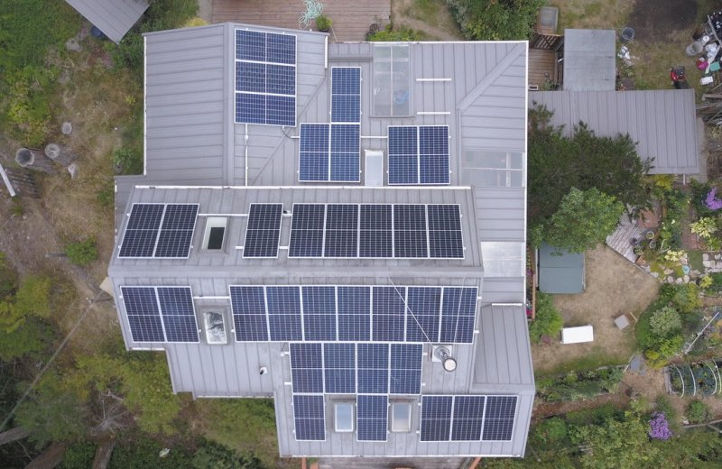 10,000 solar panels installed milestone reached! One of VEC's many residential solar power system installations in Metchosin, Vancouver Island.